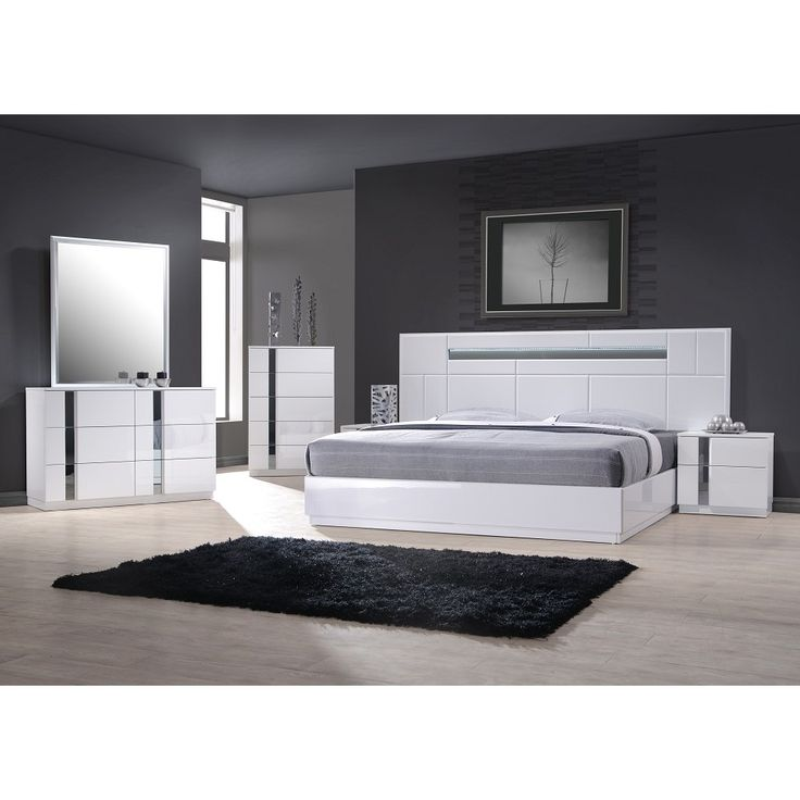 palermo white lacquer on chrome 5 pc bedroom set by jm