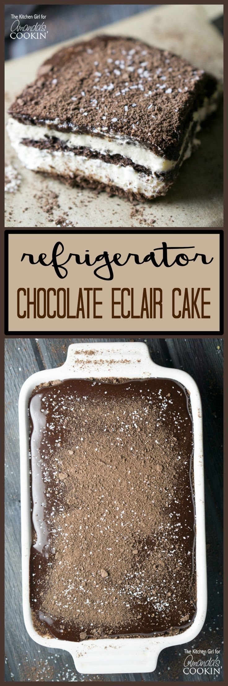 This no bake Chocolate Eclair Cake is a silky, decadent, creamy, chocolatey, cake that magically becomes all of those adjectives with very little effort.