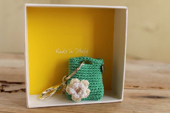 Key holderCrochet purse keychainMint Green purse by LiveFashion