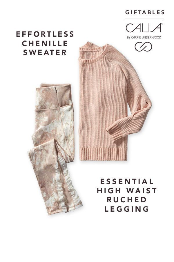 f821d7b25d Stay stylish to and from the studio with our cozy Chenille Sweater and Essential  Printed High Waist Ruched Leggings.   CALIA by Carrie Underwood