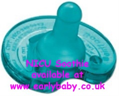The NICU Soothie is a premium pacifier designed for newborns and babies without teeth who are successfully bottle or breastfeeding. The notched area allows space for tubing from CPAP, mechanical ventilation or tube feeding. Babies should be transitioned to the Soothie prior to discharge.     For hospital use only for babies >34 weeks gestation.     £5.25 from www.earlybaby.co.uk