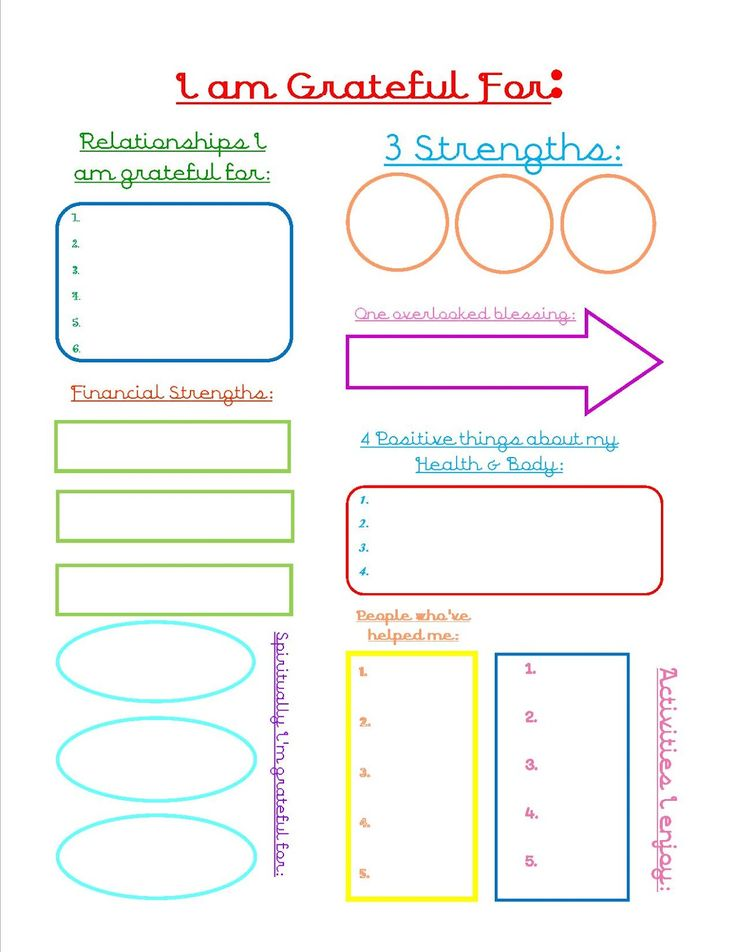 Grateful Journal Sheet - Gratitude - print this out and fill in the blanks. Build on your strengths.