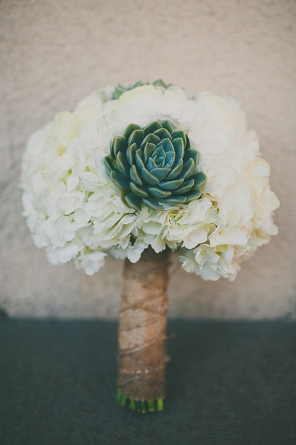 I love this, but not too sure about having a bouquet... succulents and hydrangeas wedding bouquet