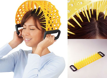 "A head massaging mechanism that would definitely constitute as an ""As Seen on TV"" fail."
