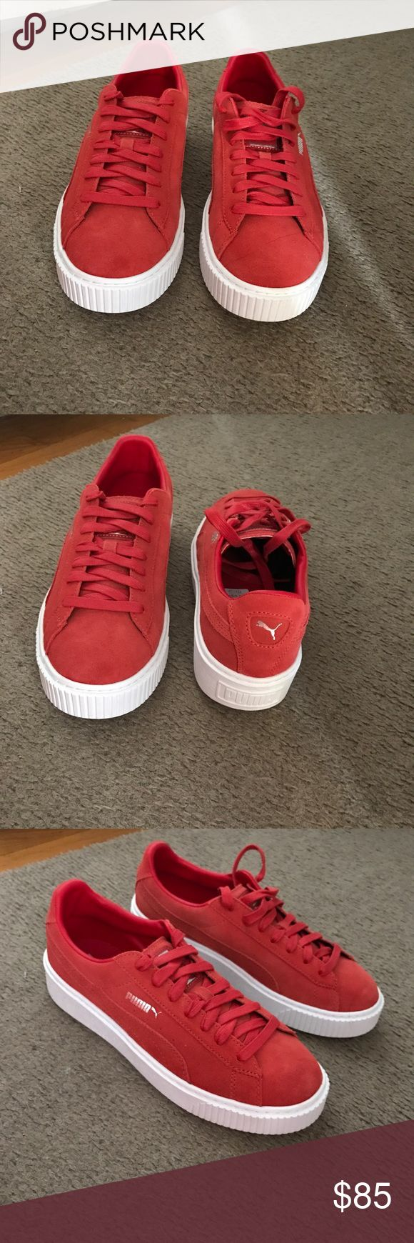 Suede Platform Pumas (Red) Red suede Platform Pumas w/ silver puma sign and white bottom. BRAND NEW, never worn!!!!!!!!!! These do not come with puma box. Puma Shoes Sneakers
