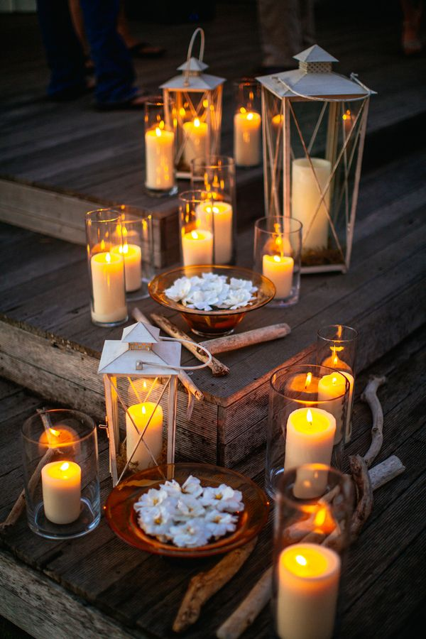 Romantic Beach Wedding in Maui | Candle light romance from our featured wedding.