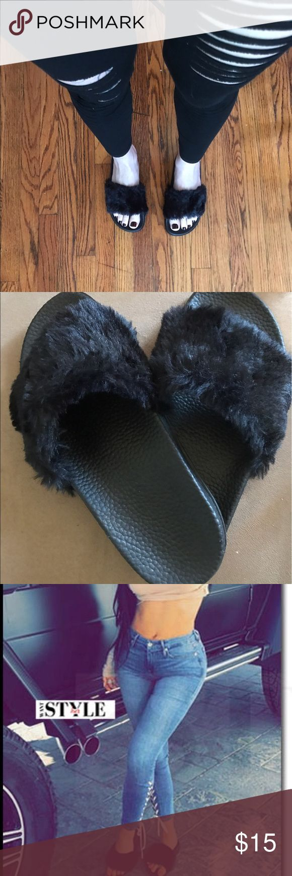 Kylie/Rihanna • • black fur sandals {slides} Black on black furry sandal slides. The same style can be seen (often!) on Kylie Jenner or Khloe Kardashian. These look just like the pricy Rihanna Fenty Puma sandals. These are insanely comfy and the fur is soft. The sole is a grippy rubber-feeling material and is flat, though has a small bit of hight to it, about half an inch. These are made even more comfortable by the way they sort of mold around your feet. Size 6.  😮Side Note! These AREN'T…