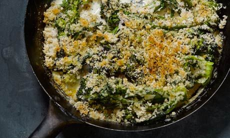 Hugh Fearnley-Whittingstall's purple sprouting broccoli gratin recipe: 'a luscious starter'.  Photograph: Colin Campbell for the Guardian
