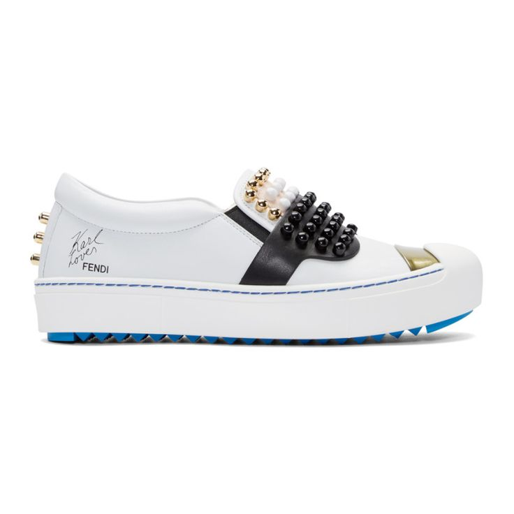 Fendi - White Leather Studded Karlito Sneakers