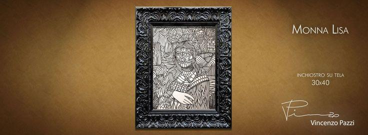 """Monna Lisa"" - inchiostro su tela (ink on canvas) - 30x40 cm - by Vincenzo Pazzi - http://vincenzopazzi.com/ - #art #acrylic #ink #canvas #gioconda #monnalisa"