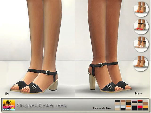 Sims 4 CC's - The Best: Strapped Buckle Heels by Elfdor