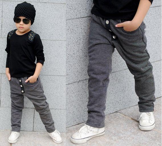 Nueva moda ropa de los niños Harem Hip Hop danza pantalones gris tallas grandes Fleece pantalones deportivos bolsillos para niños punky