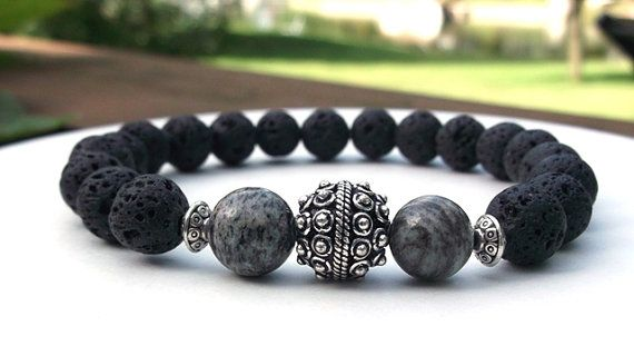 Men's Lava Rock Men's Zebra Jasper Bracelet by BlueStoneRiver, $28.95