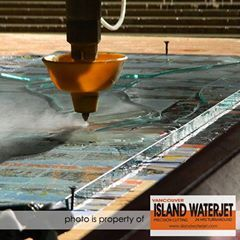 "'Waterjet Cutting for 1/2"" thick glass for Todd Robinson from @[148647058553857:274:Cascadia Glass Studio] Port Alberni.'"