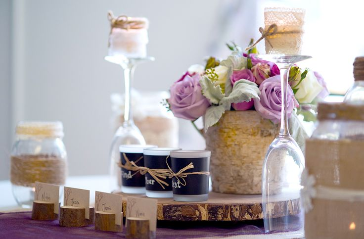 rustic purple escort table