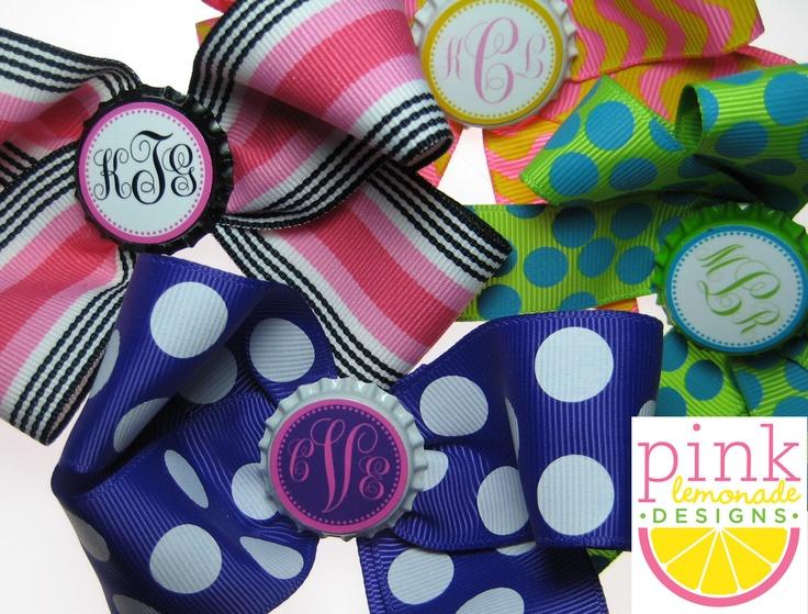 Custom Monogram Initial Personalized Bottlecap Hair Bow. $8.00, via Etsy.  preppy little girls.