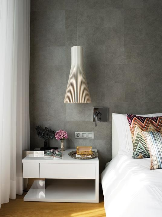 Great combination wall & light .Pillows pattern: missoni