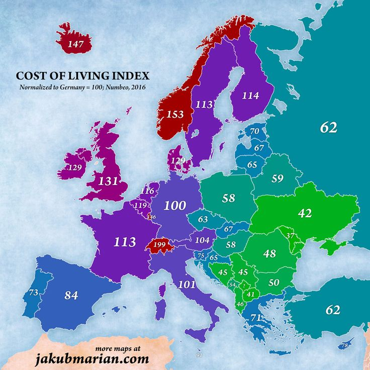 Карта стоимости жизни по странам. Чтобы понять её смысл, представьте, что вы в настоящее время живете в Германии (чей индекс 100) и тратите 2000 евро в месяц (на дом,…