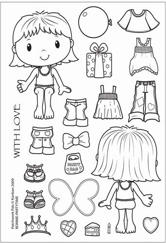 Kanban Crafts - Patchwork Pals - Clear Acrylic Stamp - Bonnie - Party Time at Scrapbook.com $11.24