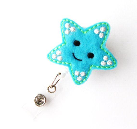 Star Fish Name Badge Holders Cute Badge Reels by BadgeBlooms