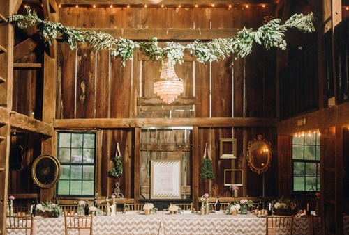 A Romantic Lodge Reception Hung with Chandeliers and Garlands of Greenery | Justin and Mary Photography | See More! http://heyweddinglady.com/down-the-garden-path-a-forest-green-and-peach-wedding/