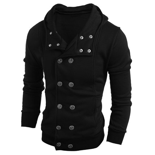 $7.36 Turn-Down Collar Double-Breasted Long Sleeve Thicken Men's Jacket