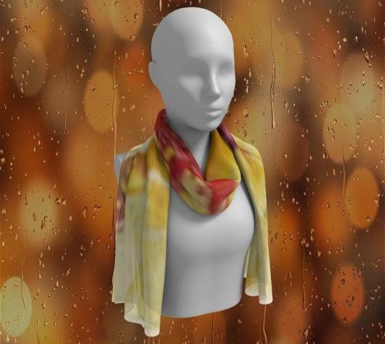 Red and Yellow Satin Charmeuse Scarf 10x45 Abstract Red handmade by TheOldBarnDoor on etsy.com