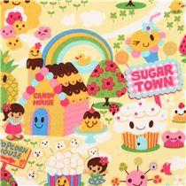 Tela rosa kawaii ciudad de caramelo Trans-Pacific Textiles - Tela con dibujos de comida - Textiles