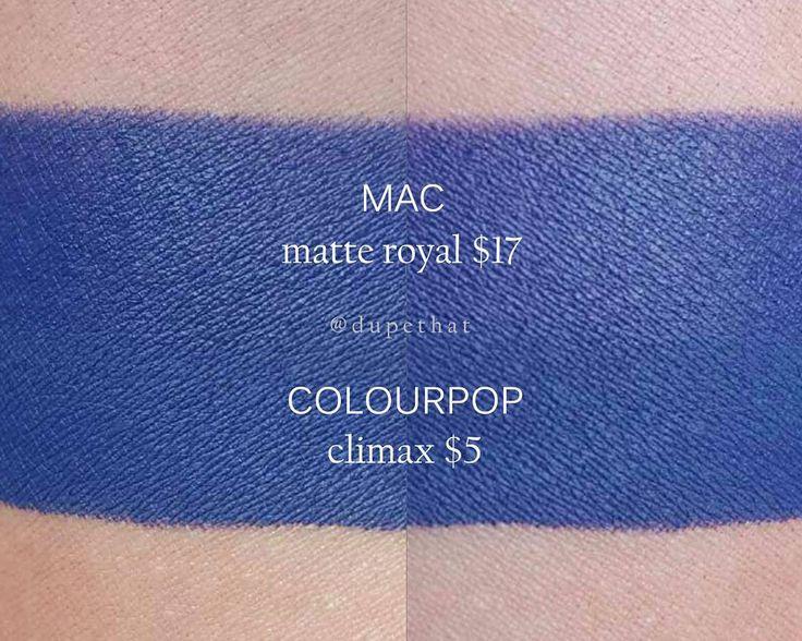 MAC Matte Royal = Colourpop Climax #dupe #lipstick #blue