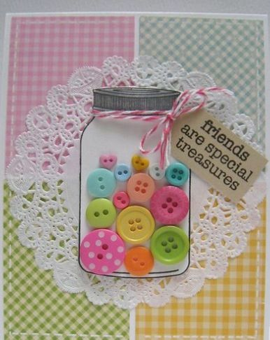 handmade greeting card ... shaker card format ... acetate jar stamped and die cut filled with colorful buttons ... four gingham print panels in background ...