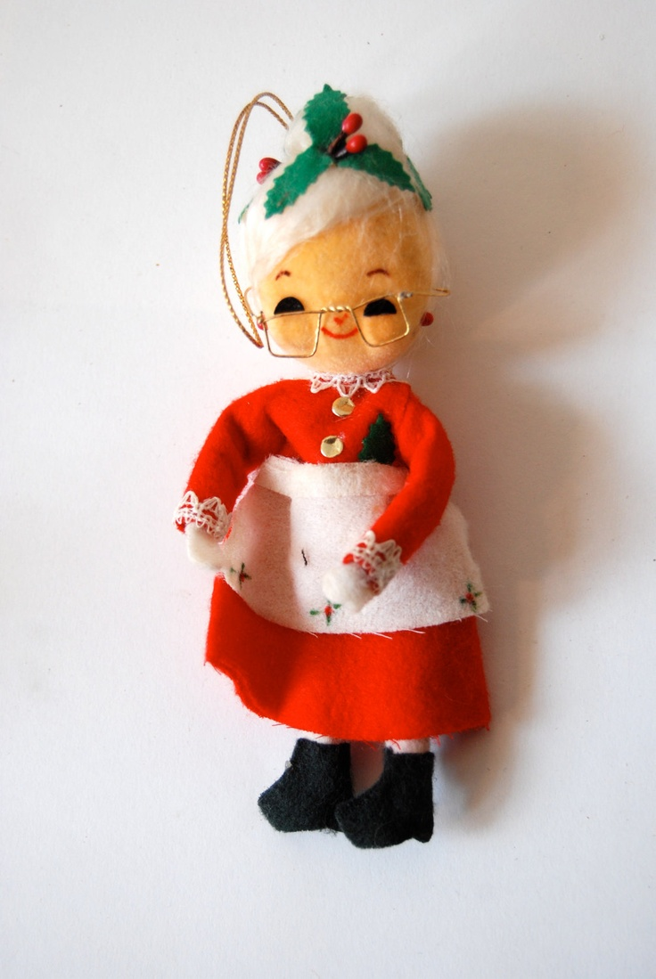 Mr and mrs claus ornaments - Vintage Mrs Claus Christmas Ornament