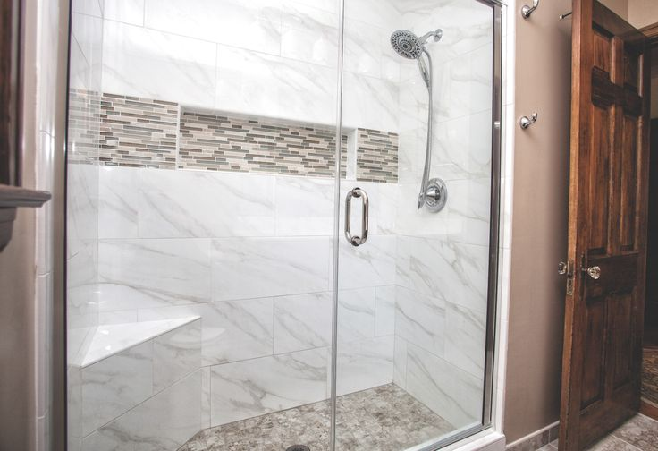 The Tub Was Removed And A Faux Marble Shower With 12x24