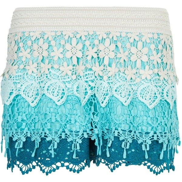 New Look Blue Ombre Floral Crochet Shorts ($24) ❤ liked on Polyvore featuring shorts, pants, blue pattern, elastic waistband shorts, blue floral shorts, flower print shorts, stretch waist shorts and floral pattern shorts
