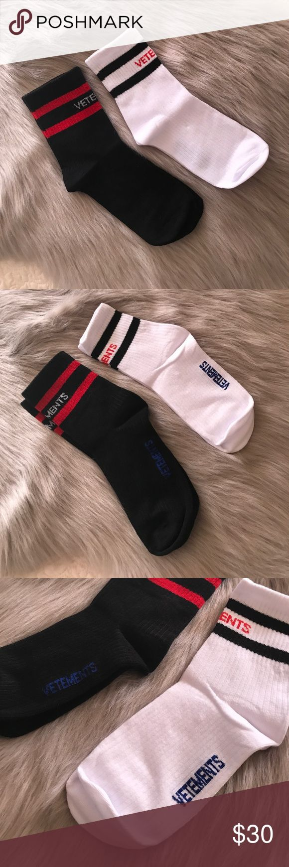 Vetements Striped Cotten Ankle Socks Combo Vetements Striped Cotten Ankle Socks Combo  -Size Small** -Brand New!  -Both for price of 1! -Ship from Los Angeles, CA.  -Ship same or next business day! -NO pricing discussions on comments below, ONLY submit offer!  Tags Supreme Box Logo Shirt Hoodie Bape Chanel Louis Vuitton Vintage Tee Shirt  LV Wallet Card Style Accessories Gucci Snake Belt Travel Passport Common Projects Goyard Duffle Bag Backpack Jordan Nike Yeezy Gosha Vetements Underwear…