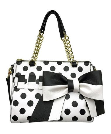 Look at this #zulilyfind! Cream & Black Polka Dot Bow Gift Me Baby Satchel #zulilyfinds