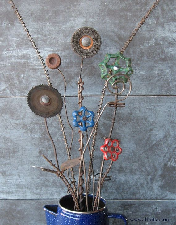 Junk Metal Flower Bouquet by dbulla on Etsy, $52.00