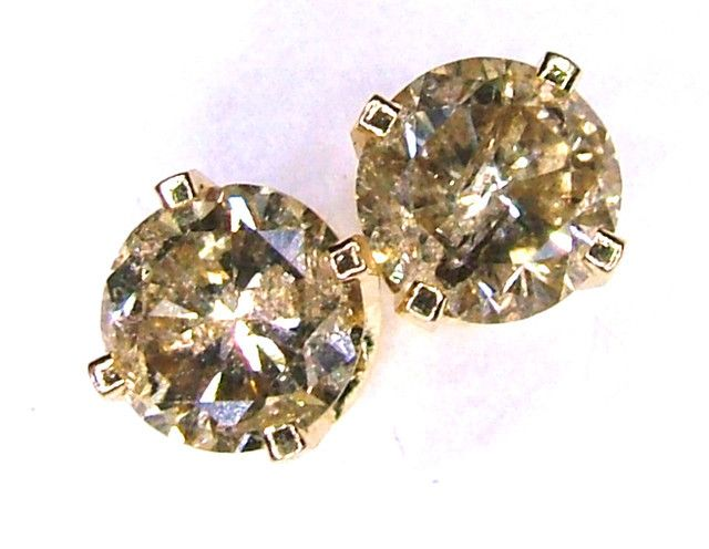 CHAMPANGE DIAMONDS EARRINGS 0.60 CTS 14K SOLID GOLD -SD-34  champagne diamond earrings in tellow gold