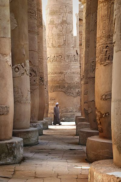 Karnak Temple, Egypt ~    Karnak is one of the most famous archeological site in Egypt. The temple, dedicated to Amon god, was connected to the city (about 5 miles away), by a Sphynx alley. Walking within the rooms of the temple, and discovering hieroglyphs and wall sculptur make you travel in time.