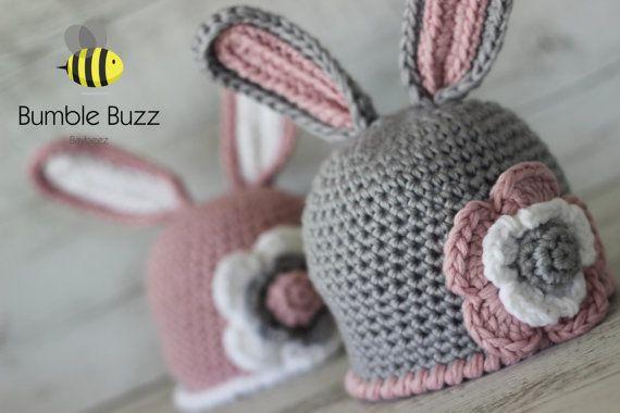 Bunny Beanie  Baby Hat. Bonnet Beanie  0-3 by BumbleBuzzBaybeez
