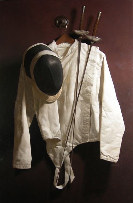 "A painting entitled ""Fencing Jacket"" completed in 2006. (This is the canvas on the easel in the painting entitled ""Process."") Oil on Linen, 42"" x 28""."