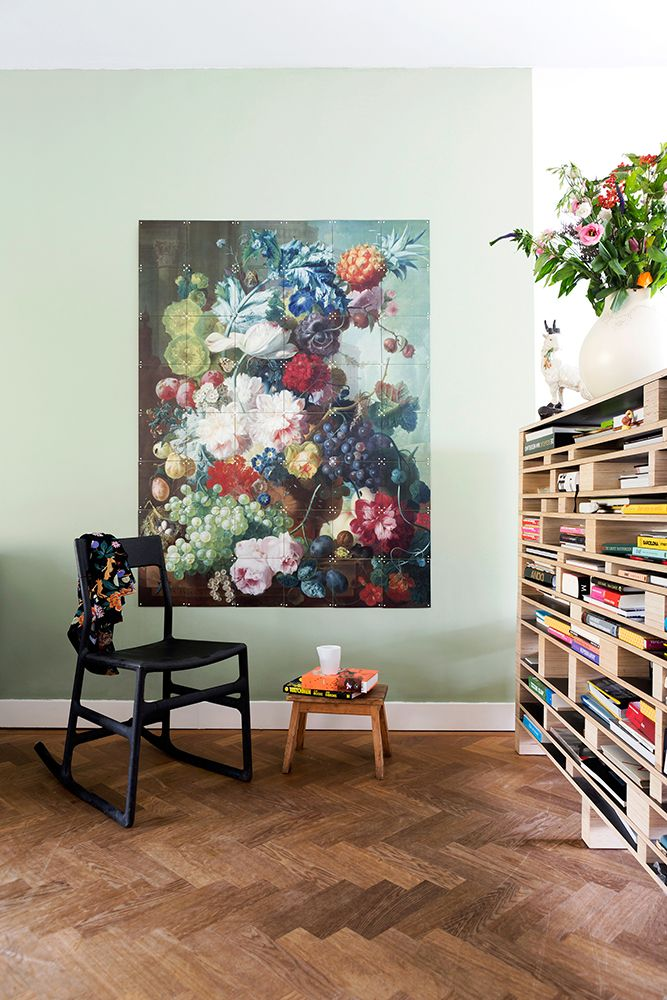XXI wall decoration made with a painting of Van Os, which can be seen in the National Gallery, based in London. Get inspired at www.ixxidesign.com/inspiration #IXXI #home #ixxiyourworld #inspiration #flowers #livingroom #stilllife #vase #interior #colorful #style #art