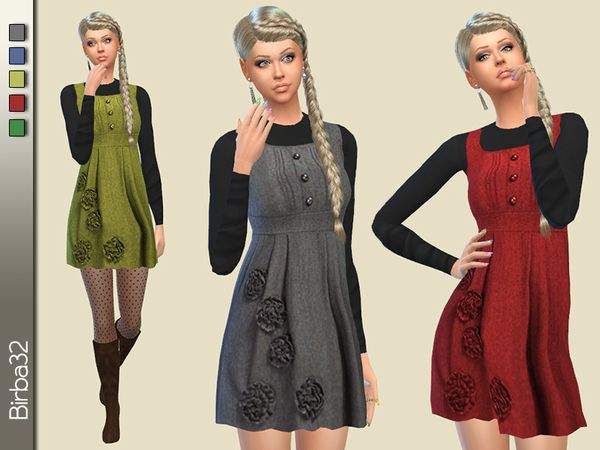 Floral salopette by Birba32 at TSR via Sims 4 Updates