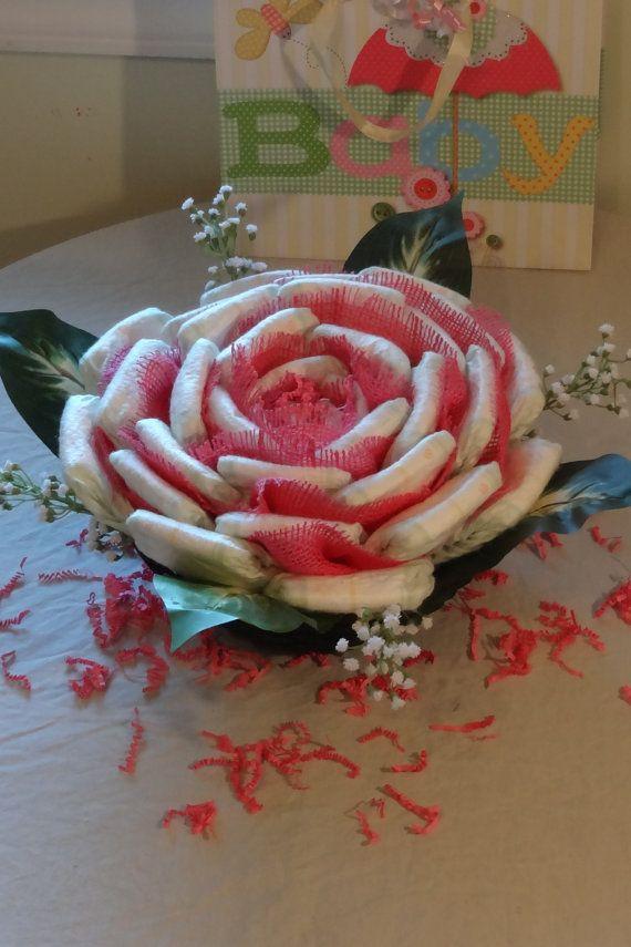 Pañal rosa cesta centro de mesa bebé ducha por SweetDiaperDesigns