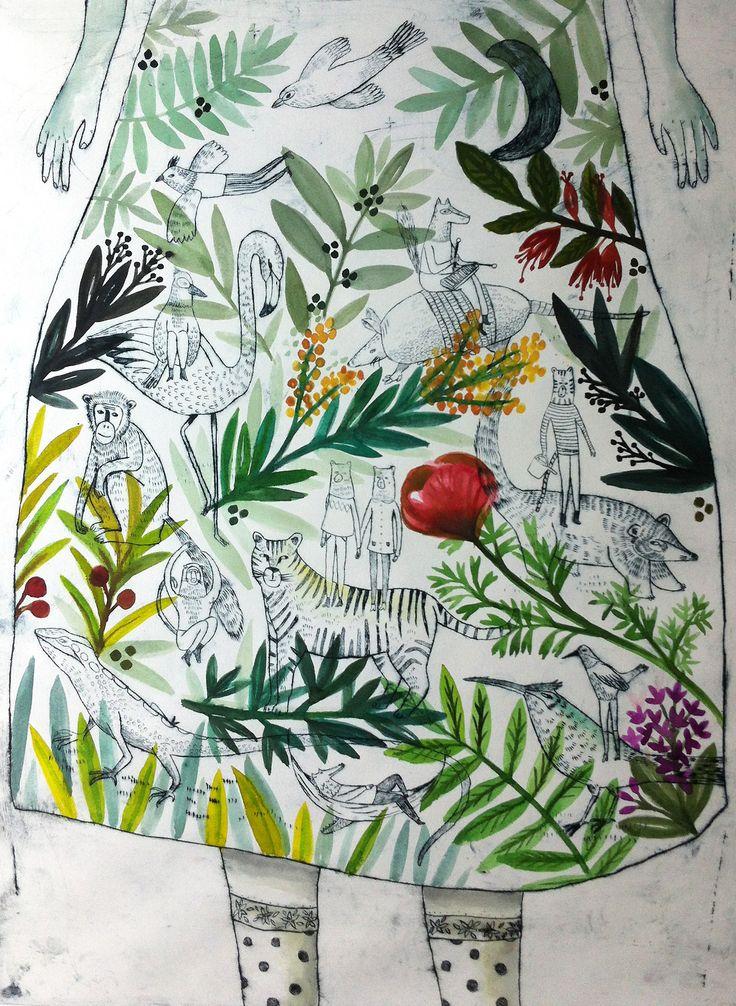 """illustration : Julie Daleyden, gravure, """"jardin intime"""", robe, feuillage, animaux"""