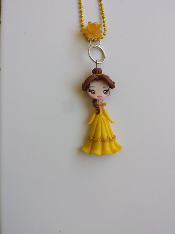 Necklace beauty and the beast in fimo polymer clay by Artmary2
