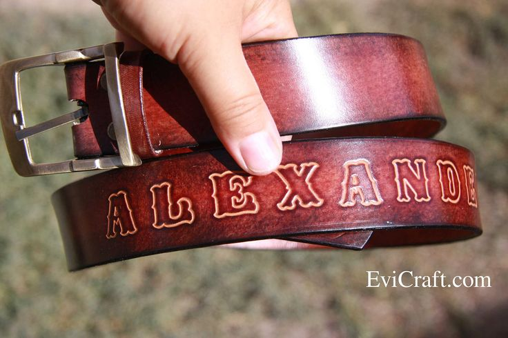 Personalised belt, Gift for men, had tooled leather belt, groom gift, wedding gift, father's day, custom made gift by EviLeatherCraft on Etsy