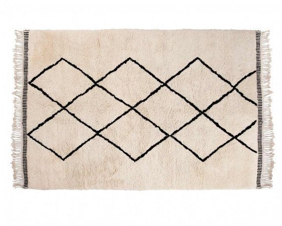 Aicha: Moroccan Beni Ourain High Pile Woolen Carpet from Atlas Mountains with Diamond Pattern Buy Online