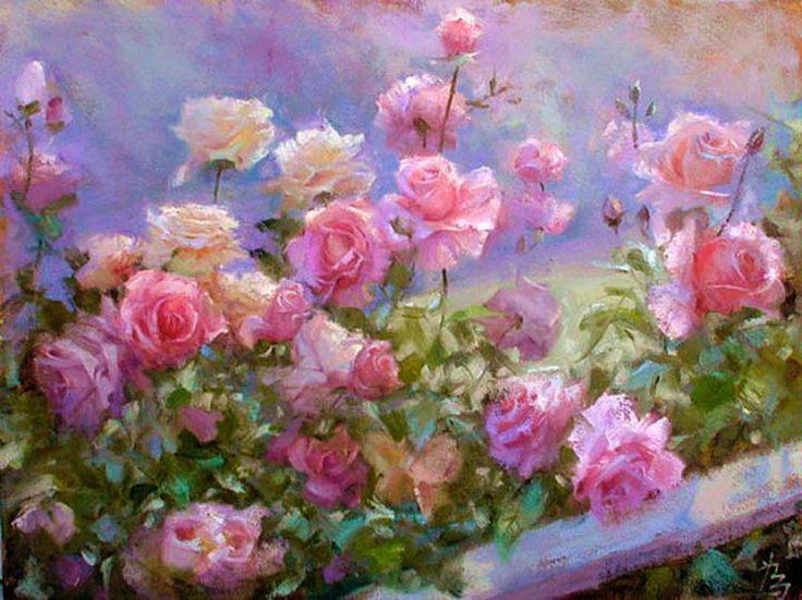 pintura: Pink Flowers, Floral Paintings, Artisticallycr Inspiration, Pretty Flowers, Beautiful Flowers, Pink Rose, Beautiful Art, Artists Cr Inspiration, Floral Art