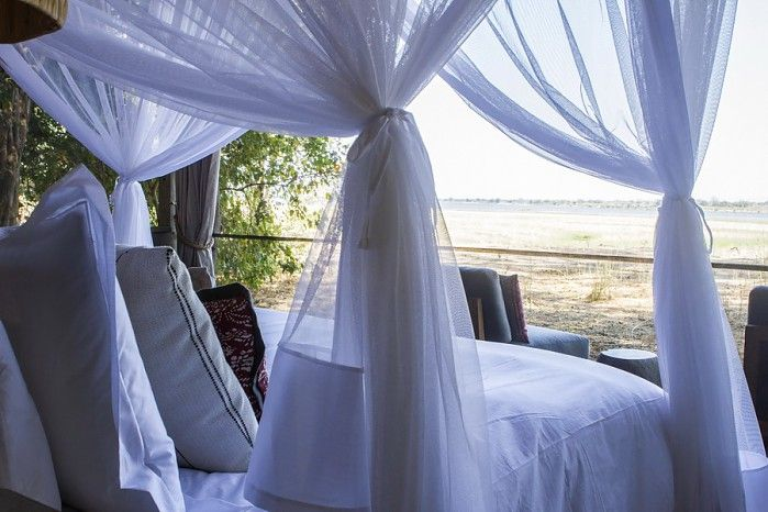 View from the guest tent onto the Zambezi River and floodplain at Little Ruckomechi