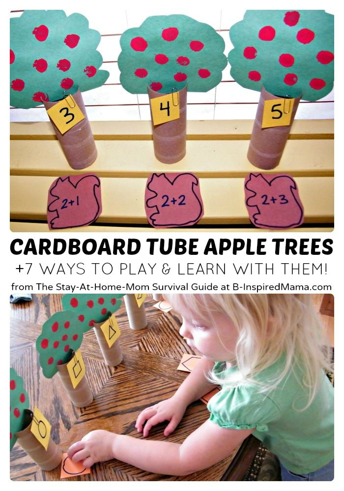 7 play and learning activities to use with cardboard tube apple trees from The Stay-at-Home-Mom Survival Guide
